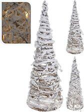 40cm Metal Frame Rattan Christmas Tree with Snow 10 LED Lights Light Up Tree