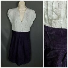 Anthropologie Maeve In A Moment Corduroy Eggplant Cotton  Size 10 Dress NWT