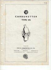 1963 SU CARBURETTER TYPE HS BMC Factory 6p Adjustments Manual MINOR MINI SPRITE