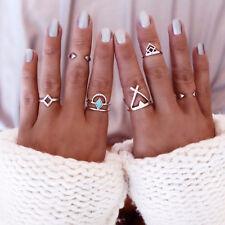 6x Vintage Beach Punk Geometry Ring Set Carved Boho Midi Finger Ring Knuckle
