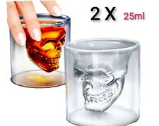"2X Creativa Whiskeyglas ""Whiskey"" 3D Cristal Calavera Vasos de Whisky 25ml Licor"