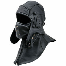 Real Leather Aviator Cap with face Mask and Collar World War II Hat Winter Mask