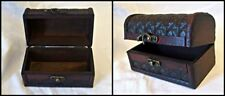 Small Leather Lattice Treasure Chest Trunk ~ Hinged Lid & Brass Fittings