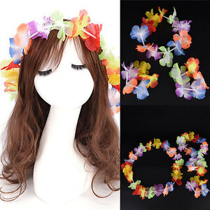 4pcs/set Hawaiian Fancy Dress Flower Necklace Garland Headband Party Costume  AP