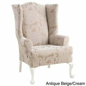 Sure Fit Stretch Forest jacquard leaf Wing Chair Slipcover cream washable new