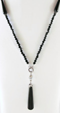 £50 Art Nouveau Silver Black Pendant Long Necklace Swarovski Elements Crystal