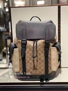 NWT Coach men's Hudson Backpack In Blocked Signature Canvas