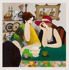 "Art Quality Canvas Print, Itzchak Tarkay oil painting Sarra and Hana 15x15"""