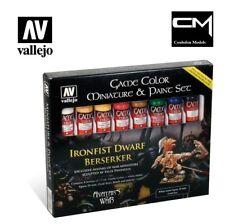 Vallejo 72211 Ironfist Dwarf Berserker Set, 8 xPaints, Miniature, Palette, Brush