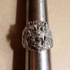GENUINE SOLID 925 STERLING SILVER LION HEAD / LEO RING SIZE 9.5 COOL BAND!