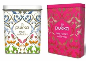 Pukka Herbal Travel Tea Sachet Envelope Bags Tin (Empty) - Choose From 2 Colours