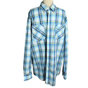Roper Mens XL Plaid Snap Up Western Shirt Rodeo Cotton LS Cowboy Blue Multi