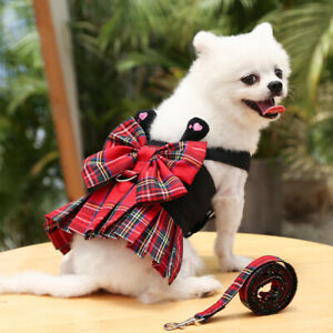 Dog Red Plaid Dress Christmas Soft Vest Harness Matching Leash for Chihuahua Cat