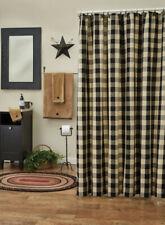 Wicklow Black Cream Check Country Farmhouse Cotton Shower Curtain