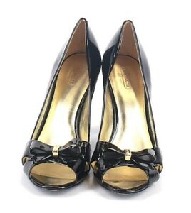 Coach Black Patent Leather Size 11 B Shoes Heels Pumps Peep Toe Bow Cadence