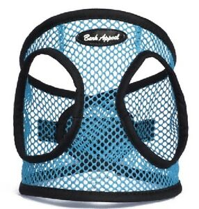 """Dog Harness Step In Netted EZ Wrap Choke Free Up 25"""" Bark Appeal Turquoise Blue"""