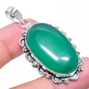 "Green Onyx Gemstone Ethnic Handmade Jewelry Pendant 2.2"" RP2626"