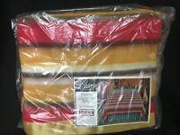"Vintage NOS Beacon Varsity Blanket Gold Stripe 72"" x 90"" 94% Rayon Permanap"