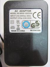 UK 12Vac 12V 2000mA 2A 24VA AC-AC Adaptor Linear Power Supply 5.5mmx2.1mm/2.5mm