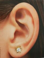 .10 CT 14k Yellow Gold 7 mm Flower Solitaire Stud Earrings 1.4 gr Push Back