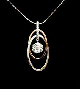 .30ct Real Diamond Pendant - 9ct Solid Rose & White Gold  - 4.42 gram