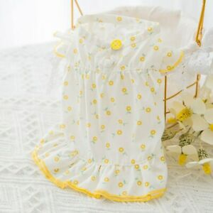 Small Pet Dog Dress Thin Breathable Floral Lace Princess Skirt Puppy Cat Clothes