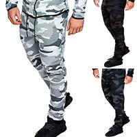 Mens Jogger Pants Sweatpants Track Slim Fit Cotton Workout Gym Basic Sports Camo