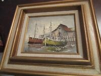 W. JONES Oil on CANVAS Sailboats Painting Signed Framed MIDCENTURY