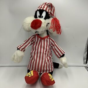 """Looney Tunes Sylvester Pajamas Red White Striped Plush 16""""  1997 Tweety Slippers"""