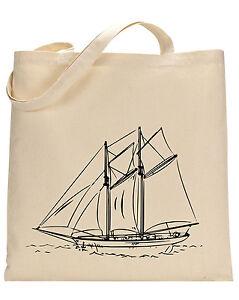 Sailing Ship cotton tote bag - Book bag, Shopping bag,Reusable and Washable