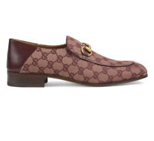 Gucci Horsebit Mister Sahara GG Monogram Canvas Leather Loafers Shoes G 9 Italy