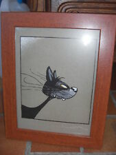 cadre reproduction dessin Loisel chat imitation bois à poser ou suspendre