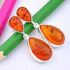 Pretty Fashion Jewelry Gift Honey Cognac Amber Gems Lady Silver Stud Earrings