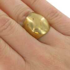 Statement Metal Ring Polished Brass Structural Knuckle Large Big Chunky Sz 5.5