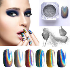 Mirror Holographic Laser Nailrt Glitter Powder Rainbow Chrome Pigment Polish Hot