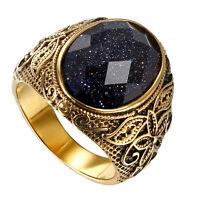Herren Vintage Gold Edelstahl gemustert Lila Sand Stein Band Ring # 9- # 11 x 1p