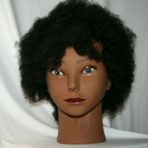 Cosmetology Mannequin African female practice head afro kinky curl hair style