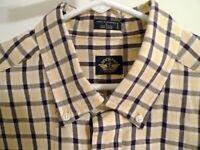 Mens Docker's Size L Cotton Long Sleeve Yellow Black Plain Button Shirt