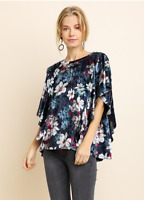 GIGIO BY UMGEE Size Medium Floral Print Velvet Top With Ruffled Short Sleeves