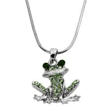 "Little Green Frog Pendant Necklace 18"" Chain Rhodium Plated Gift Boxed"