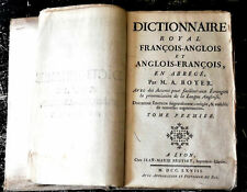 1768 ANTIQUE BRITISH BOOK *THE ROYAL DICTIONARY ABRIDGED ENGLISH AND FRENCH*