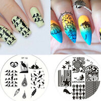 2Stk Nagel Schablone Nail Art Stamp Stamping Plates Image Templates BORN PRETTY