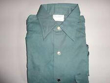 Green Vintage Osh Kosh Metal Button Motorcycle Work Shirt Mens 14 1/2 Regular