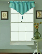 1PC TEAL DROD POCKET SILK SMALL WINDOW VALANCE SWAG TOPPER W/FRINGES VINCE
