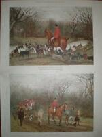 Hunting Sketches by G L Harrison 1886 colour prints