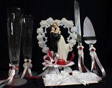Valentine  Day SEXY  RED Wedding Cake Topper LOT Glasses Knife server Garter