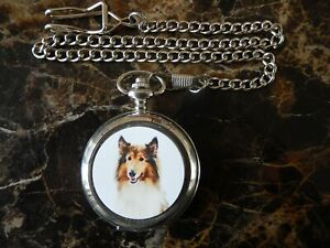 ROUGH COLLIE CHROME POCKET WATCH WITH CHAIN (NEW)