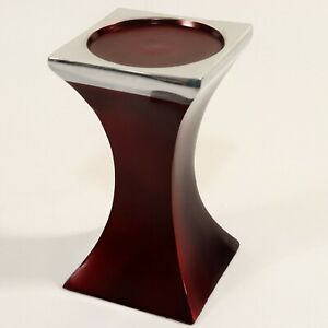 "Faux Wood Look Metal Pillar Candle Holder Pedestal Burgundy Silver 7.25"" Square"