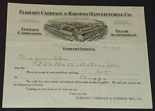 1910 - ELKHART CARRIAGE AND HARNESS MFG CO - HORSE BUGGY INVOICE - ORIGINAL