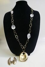 and Necklace Set by Simon Sebbag Vintage Sterling Gold Washed Quartz Earring